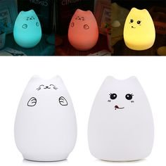 portable rechargeable color changing childrens kids baby led cat silicone night light Buy A Cat, Led Night Light, Led Lamp, Color Change, Baby Kids, All In One, Cartoon, Cats, Gatos