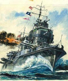 Destroyer Yukikaze, painting by Yoshiyuki Takani. (Source)
