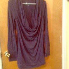 Dark navy blue long sleeve Loose neck that hangs down in front. Shirt is a size large Tops