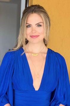 Hannah Brown's Blue Dress On The Bachelorette Season Finale   Celebrity Style Guide
