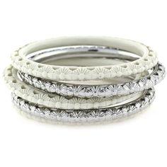 Jessica Simpson Bracelet Set, Silver Tone Love Lace Five Bangle Set via Polyvore