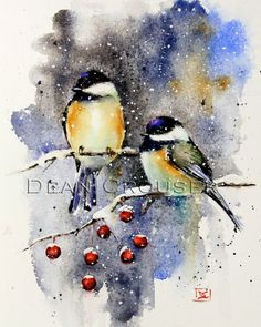 CHICKADEES ON CRABAPPLE high quality giclee print from an original watercolor painting by Dean Crouser (original has been sold). Measures 8 x