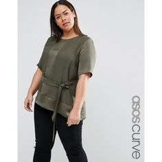 ASOS CURVE Satin Matt & Shine Asymmetric Tee with Tie Waist ($49) ❤ liked on Polyvore featuring green, plus size, asos curve and tie belt