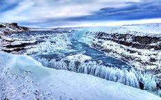 Iceland Travel - HDR Iceland Landscape Wallpapers - Snow Covered Gullfoss Waterfall, Iceland - Gulfoss Golden waterfall Winter snow, Iceland12