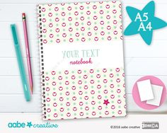 Personalised Notebook (Helen Heart), handmade stationery - lots of designs to choose by aabecreative on Etsy