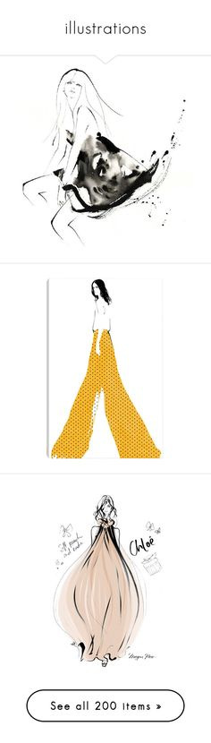 """""""illustrations"""" by monazor ❤ liked on Polyvore featuring home, home decor, wall art, yellow wall art, motivational wall art, yellow home decor, polka dot wall art, polka dot home decor, sketches and backgrounds"""