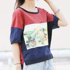 Women Plus Size Summer Cartoon Print Tee Shirt Ladies Loose Short Sleeve T-shirt Tops Tees Female Cute Casual T shirts