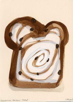 Original Gouache Painting - ( Cinnamon Raisin Toast ).