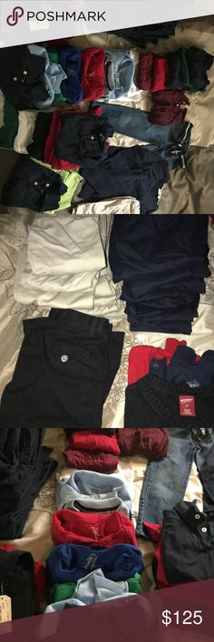 Boys Uniforms!!! My son has out grown out of his school uniforms. I have 8 pair of size 6/7 beige uniform pants, 8 pair of size 6 and 7 in navy blue uniform pants. Most are izod brand some are George brand. I have 4 sweaters size 6 and a few size 5/6 but fits like the 6.  I have 23 polo shirts size 6/7. Most are short sleeve but have 4 long sleeves. We have one pair of shorts in beige size 5. A pair of jeans size 6. Izod Shirts & Tops Polos