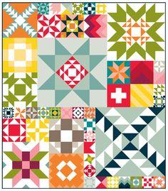 Moda Modern Building Blocks Quilt Fabric Kit - Click Image to Close