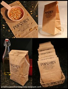 DIY Microwave Popcorn: popcorn kernels Olive oil Topping of choice Combine and put into brown paper bag, fold top over 3 times. Popcorn Recipes, Snack Recipes, Cooking Recipes, Recipies Healthy, Yummy Treats, Sweet Treats, Yummy Food, Brunch, Food Gifts