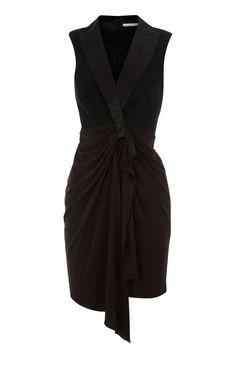 Karen Millen Folded Crepe Tuxedo Dress ,fashion Karen Millen Solid Color Dresses outlet