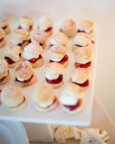 Mini scones with strawberries & cream #wedding #food #catering #finger_food #dessert #strawberries