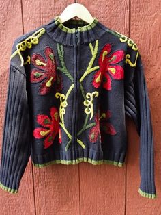 LISA NICHOLS VTG Zip Front Cardigan Sweater Black with Flowers Sz Small #LisaNichols #FullZip