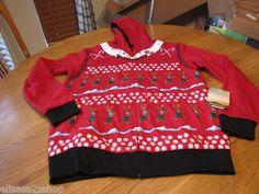 Men's Quiksilver jacket hoodie zip up coat L reversible Torqued Christmas RARE
