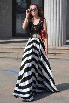 Tidestore Stripe Lace Patchwork Maxi Dress
