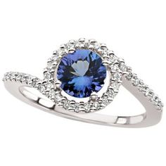 14k White Gold Round Cut Solitaire Tanzanite and Diamond Ring - (H,I1,0.45cttw)