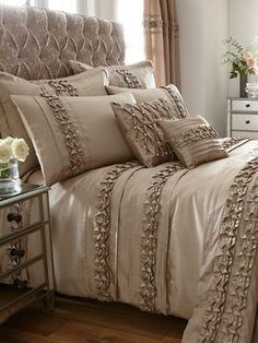 Shop Very for women's, men's and kids fashion plus furniture, homewares and electricals. Royal Bedroom, Bedroom Bed, Bedroom Decor, Bedrooms, Duvet Bedding, Bedding Shop, Handmade Bed Sheets, Champagne Bedroom, Cushion Cover Designs