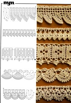 Crochet lace edgings with diagram