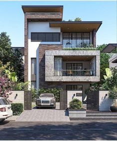 Modern Bungalow Exterior, Modern House Facades, Modern Exterior House Designs, Modern House Design, Exterior Design, Architect Design House, Bungalow House Design, House Front Design, House Architecture Styles