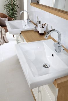 Wood twin washbasins from Utopia Bathrooms. Furniture For You, Furniture Decor, Basin Unit, Home Safety, Bathrooms, Twin, The Unit, Age, Autumn