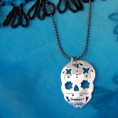 Sterling Sugar Skull  Day of the Dead by phrynemetal on Etsy, $45.00