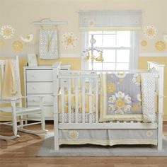 A sophisticated neutral palette distinguished the Migi Sweet Sunshine Baby Bedding Set, with yellows and grays that will keep your little one's room sunny and bright.