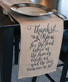 Show your gratitude at every meal and gathering with loved ones with this soft jute table runner.