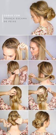 Easy Bun for all occasions - Frisuren - Cheveux Short Hair Styles Easy, Short Hair Updo, Braids For Long Hair, Curly Hair Styles, Blonde Braids, Bun Styles, Braided Hairstyles Tutorials, Box Braids Hairstyles, Braid Tutorials