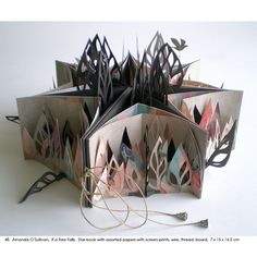 Amanda O'Sullivan, IF a Tree Falls, Star-book with assorted papers with screen-prints, wire, thread, board, 7 x 15 x 16.5 cm