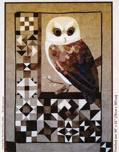 Block Barn Owl   raw edge applique and pieced quilt PATTERN