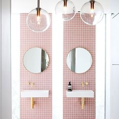 60cm round mirrors in brushed brass by LUUM on www.luum.com.au  Now here's a bathroom to dream about... Rebecca Judd's prahran house ensuite as part of @thestyleschool series... I am head over heels in L O V E  Pink tiles, gold accents, brass tapware, glass globe lights, marbled porcelain wall cladding.  Styled by Aimee Tarulli & photography by James Geer #Melbourne #bathroomdesign #interiordesign #styling