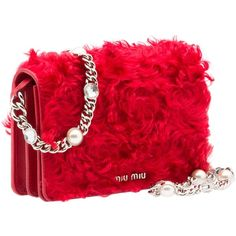 Miu Miu CLUTCH ($900) ❤ liked on Polyvore featuring bags, handbags, clutches, red clutches, shearling handbags, miu miu, magnetic purse and red handbags