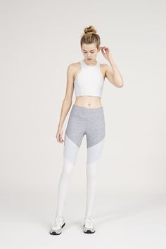 The Color Blocked Dancer Leggings in Ash, Dove & Oatmeal from Outdoor Voices. Activewear. Click on the link above and shop now.