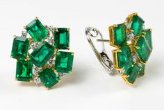 Vivid Green Emerald Diamond Gold Cluster Earrings | From a unique collection of vintage stud earrings at https://www.1stdibs.com/jewelry/earrings/stud-earrings/