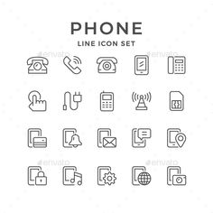 Set Line Icons of Phone - Man-made objects Objects Shop Icon, Icon Set, Telephone Drawing, Bullet Journal Titles, Planner Doodles, App Background, Communication Icon, Phone Logo, Doodle Icon
