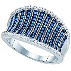 1/2CT-Diamond MICRO-PAVE BLUE RING
