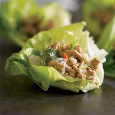 Thai turkey lettuce cups:  1/3 c. lime juice (~5 limes) + 3 Tbsp fresh lemon juice (~1 lemon) + 2 Tbsp Thai fish sauce +2 Tbsp honey + 3 Tbsp canola oil + 1/2 red onion, diced + 3 small shallots, thinly sliced + 1 piece lemongrass (4 inches long), minced (about 1/4 cup)  1 chili, thinly sliced + 1 lb ground turkey + S+P  + 1/2 cup chopped mint + 1 head butter lettuce