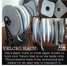 Wondering how to get all those velcro rolls to stop mixing together and getting intermixed? A special education teachers dream! Classroom Hacks, Autism Classroom, Special Education Classroom, School Classroom, Classroom Organization, Classroom Setup, Classroom Resources, Organizing, Future Classroom