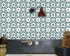 Tile Decals Tiles for Kitchen/Bathroom Back splash Floor | Etsy Floor Decal, Floor Stickers, Tile Decals, Vinyl Tiles, Pattern Matching, Contact Paper, Floor Design, Kitchen Tiles, Color Card
