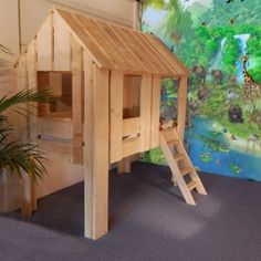 Steigerhout kinderkamer jungle boomhutbed, lekker stoer en superstevig  van Mura Mura, Kidsroom jungle, kidsroom with indoor treehouse