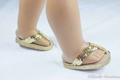 American Girl or 18 inch doll FLIPFLOPS SANDALS SHOES in Gold