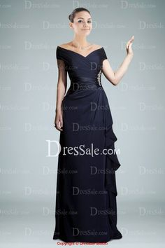 similiar Off-the-shoulder A-line Mother of the Bride Dress with Delicate Ruches