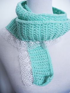 Women's Teens' crochet Mint green / acqua scarf with by MilaNYarns, €14.00