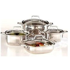 8piece Induction Ready Heavy Duty 1810 Stainless Steel Unique Square Cookware Set with Vented Glass Lids ** Visit the image link more details. This Amazon pins is an affiliate link to Amazon.