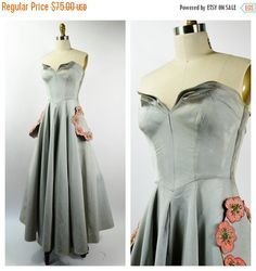 JULY SALE Fabulous 1950s Evening Dress Gray Ribbed by EadoVintage