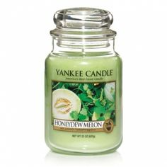 Yankee Candle Company Large Jar Candles aroma of cool slices of vine-ripened, sun-kissed melons 27.99 Large Jar 110-150 hours of fragrance, even more if used on a heated burner instead of lighting it, can be re-used over and over