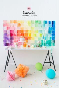DIY Watercolor Paper Squares Backdrop | Oh Happy Day!
