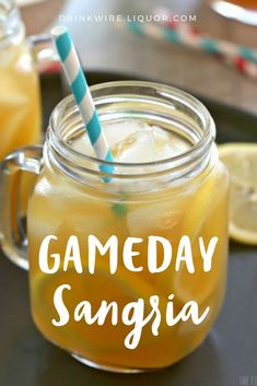 Football season means tailgating, which means #cocktails! Made with white wine and hard apple cider, this Sangria is the perfect Super Bowl sipper!