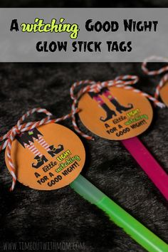 Printable Halloween Favor Tags - FREE DOWNLOAD - Glow Sticks - Timeout with Mom: A Witching Good Night Glow Stick Tags